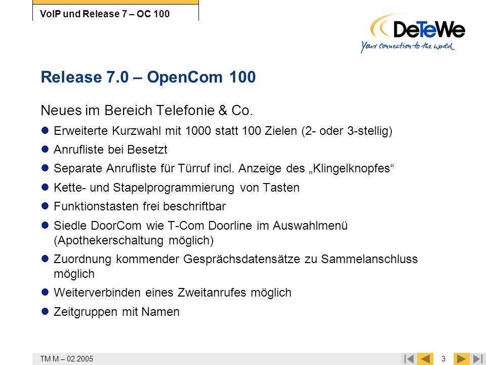 Release 7.0 – OpenCom 100 Neues im Bereich Telefonie & Co.