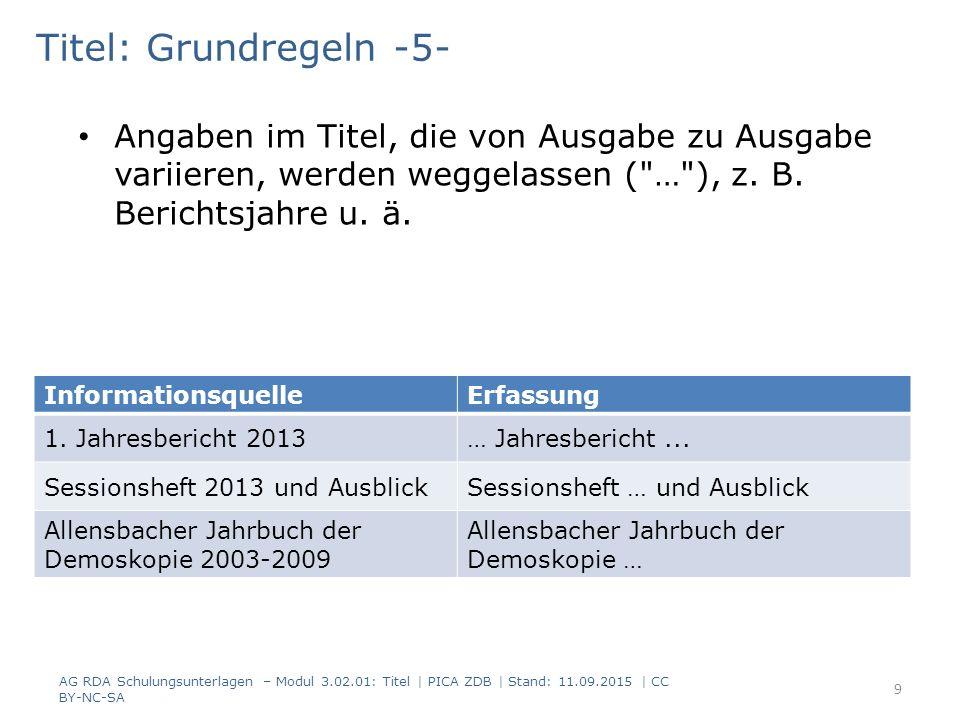 Titel: Grundregeln -5- Angaben im Titel, die von Ausgabe zu Ausgabe variieren, werden weggelassen ( … ), z. B. Berichtsjahre u. ä.