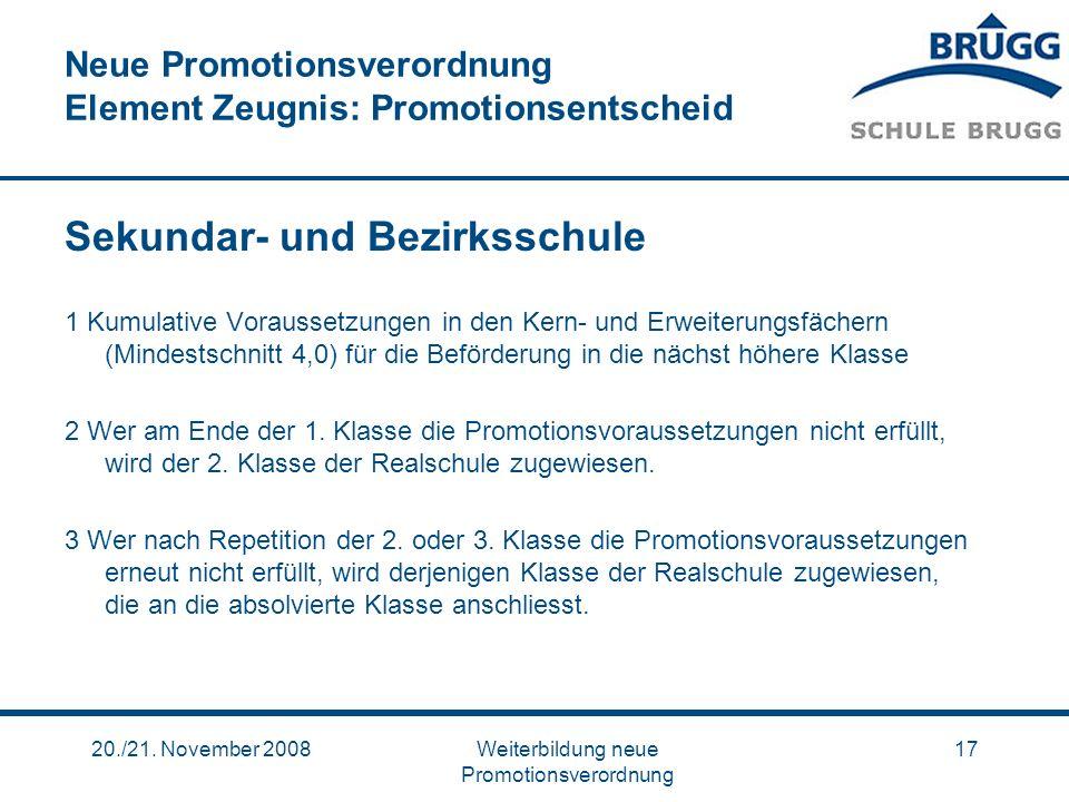 Neue Promotionsverordnung Element Zeugnis: Promotionsentscheid