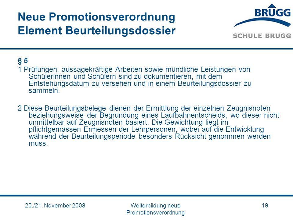 Neue Promotionsverordnung Element Beurteilungsdossier