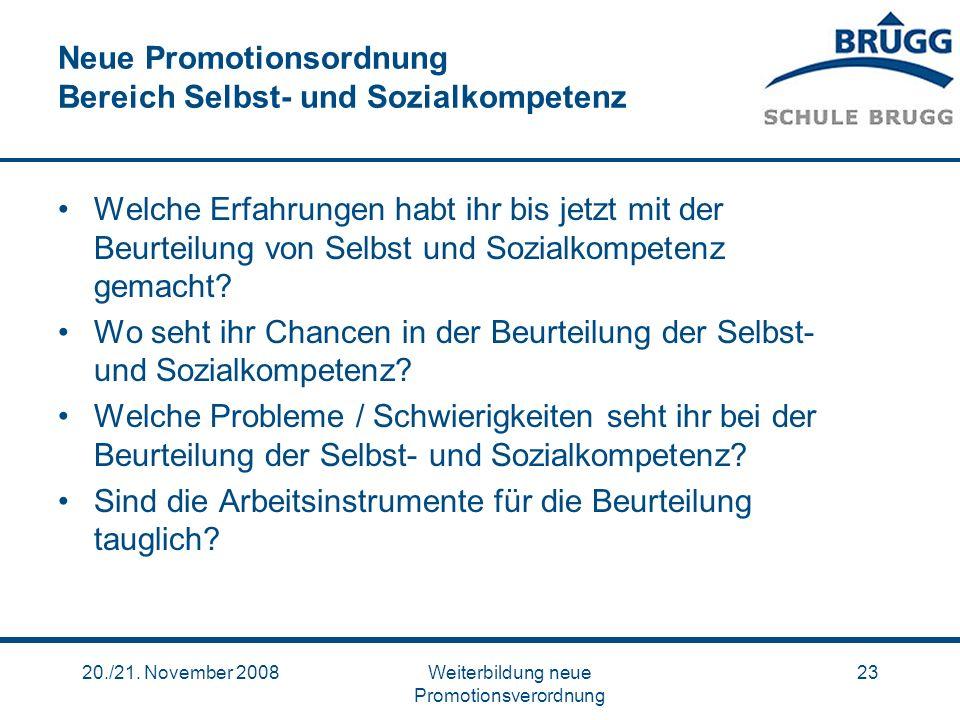 Neue Promotionsordnung Bereich Selbst- und Sozialkompetenz