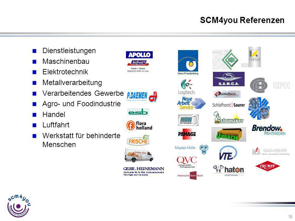 SCM4you Referenzen Dienstleistungen Maschinenbau Elektrotechnik