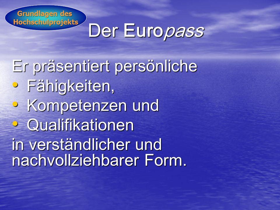 Der Europass Er präsentiert persönliche Fähigkeiten, Kompetenzen und