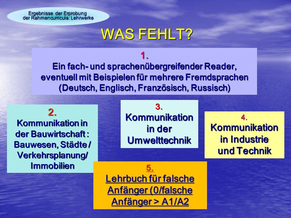 WAS FEHLT 1. 2. Kommunikation in der Umwelttechnik