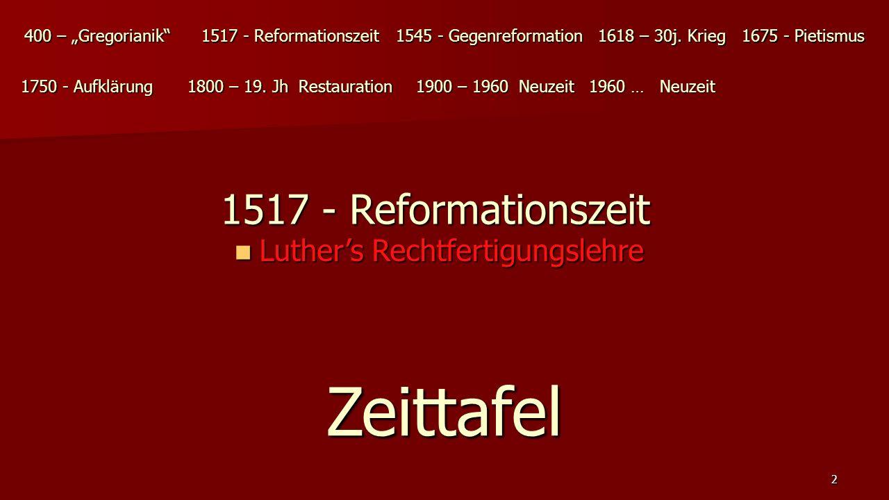 Zeittafel 1517 - Reformationszeit Luther's Rechtfertigungslehre