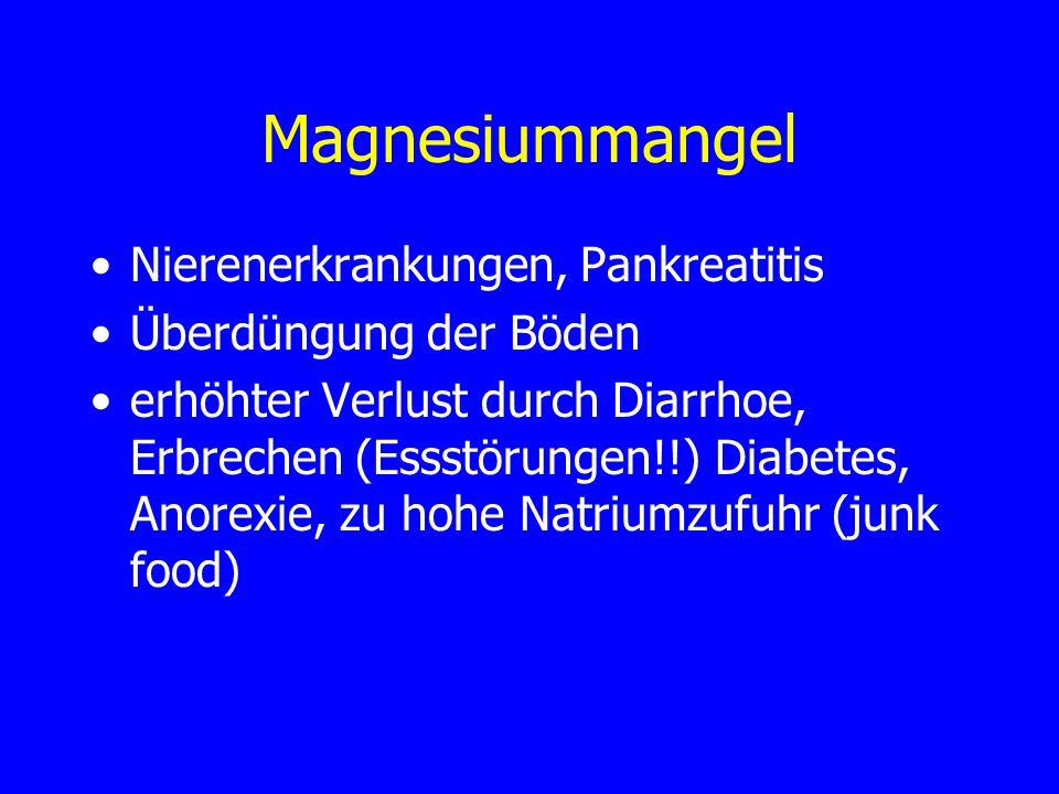 Magnesiummangel Nierenerkrankungen, Pankreatitis Überdüngung der Böden