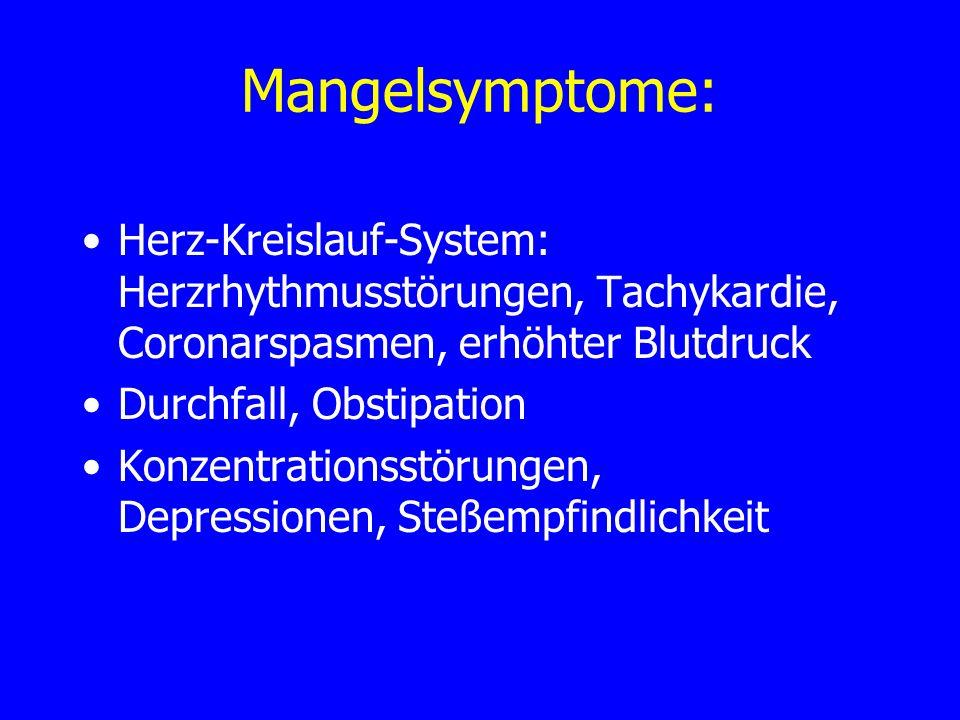 Mangelsymptome: Herz-Kreislauf-System: Herzrhythmusstörungen, Tachykardie, Coronarspasmen, erhöhter Blutdruck.