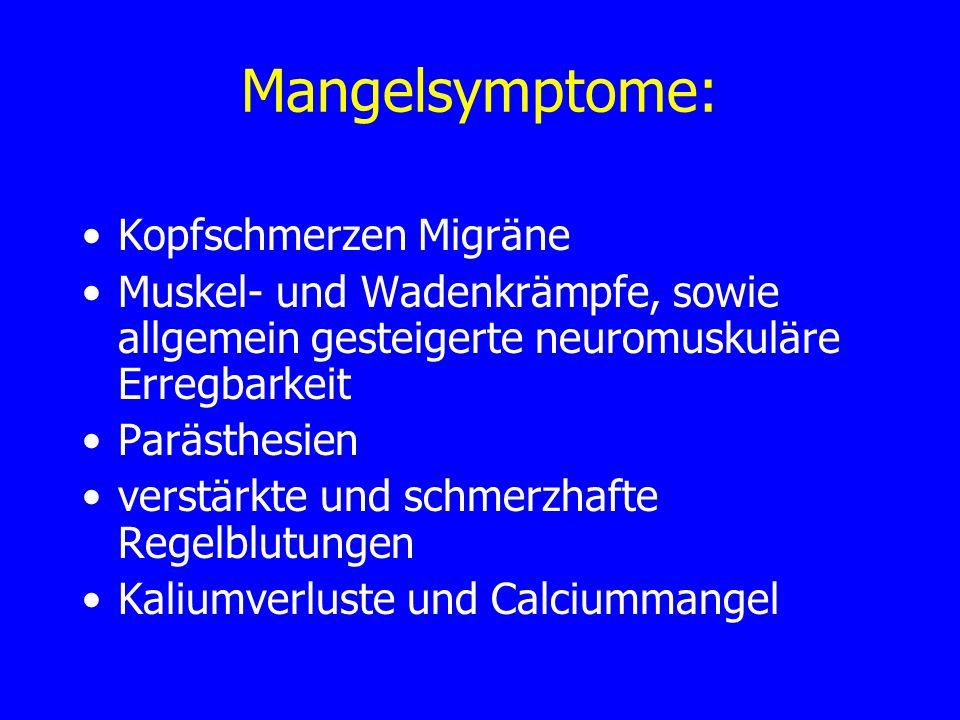 Mangelsymptome: Kopfschmerzen Migräne
