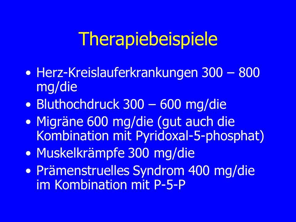 Therapiebeispiele Herz-Kreislauferkrankungen 300 – 800 mg/die