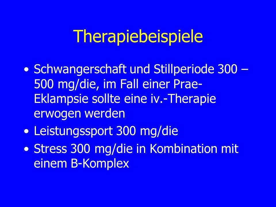 Therapiebeispiele Schwangerschaft und Stillperiode 300 – 500 mg/die, im Fall einer Prae-Eklampsie sollte eine iv.-Therapie erwogen werden.