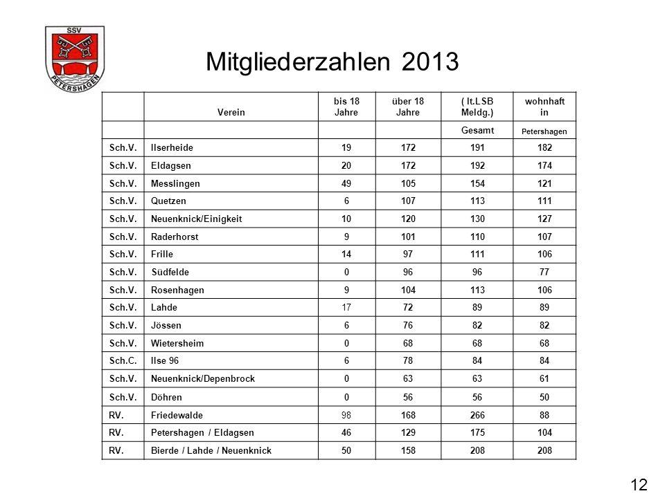 Mitgliederzahlen 2013 12 Verein bis 18 Jahre über 18 Jahre
