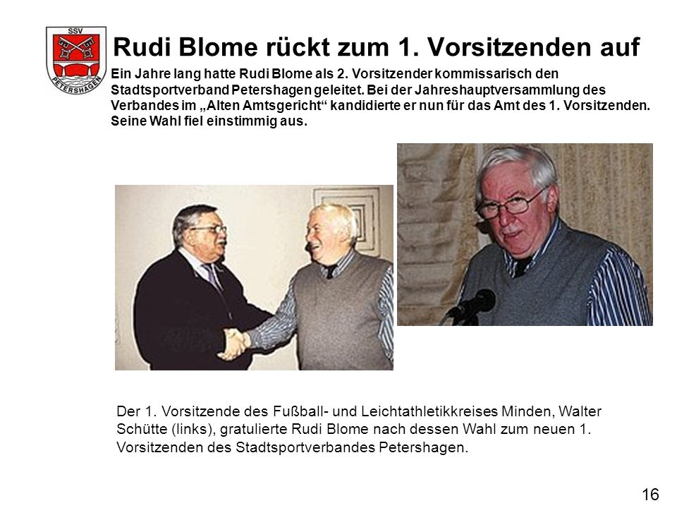 Rudi Blome rückt zum 1. Vorsitzenden auf