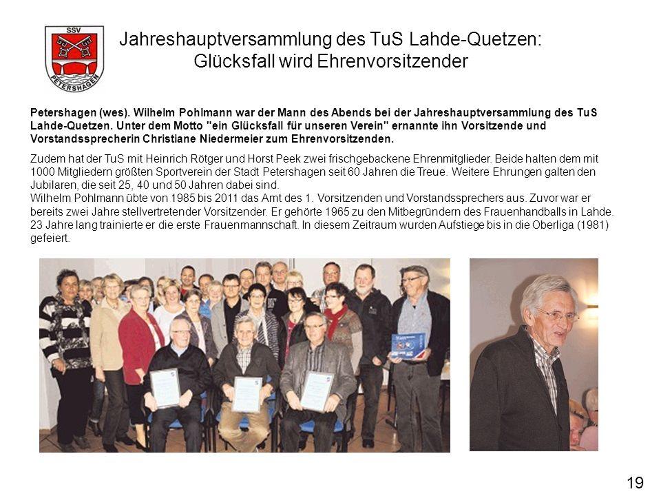 Jahreshauptversammlung des TuS Lahde-Quetzen: Glücksfall wird Ehrenvorsitzender
