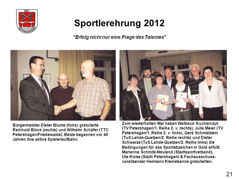 Sportlerehrung 2012 21 Erfolg nicht nur eine Frage des Talentes