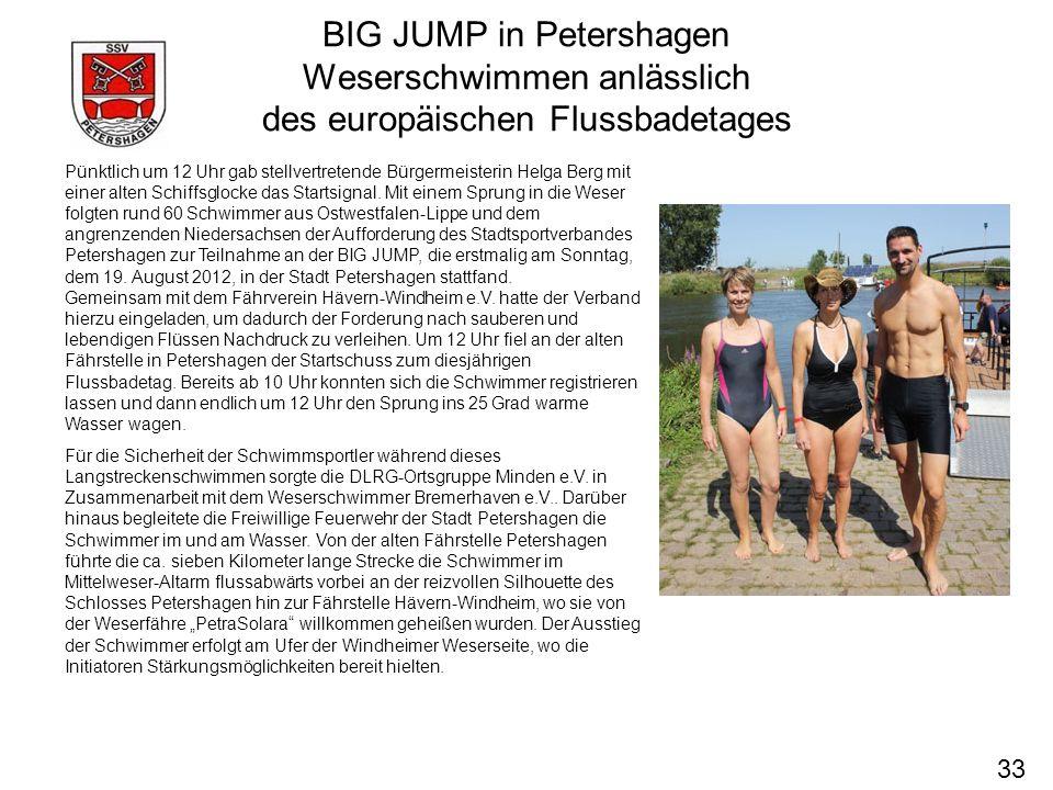 BIG JUMP in Petershagen Weserschwimmen anlässlich des europäischen Flussbadetages