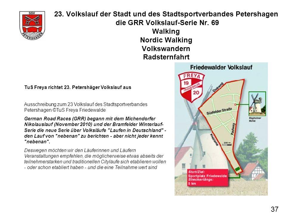23. Volkslauf der Stadt und des Stadtsportverbandes Petershagen die GRR Volkslauf-Serie Nr. 69 Walking Nordic Walking Volkswandern Radsternfahrt