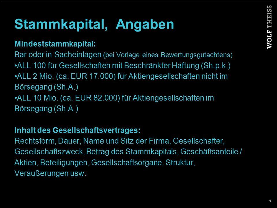 Stammkapital, Angaben Mindeststammkapital: