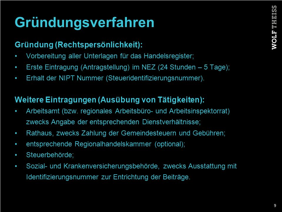 Gründungsverfahren Gründung (Rechtspersönlichkeit):
