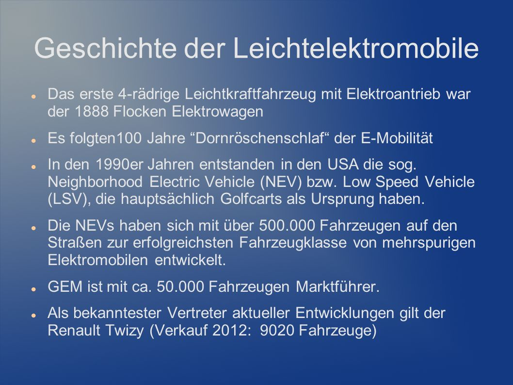 Geschichte der Leichtelektromobile