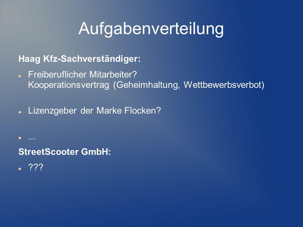 Aufgabenverteilung Haag Kfz-Sachverständiger: