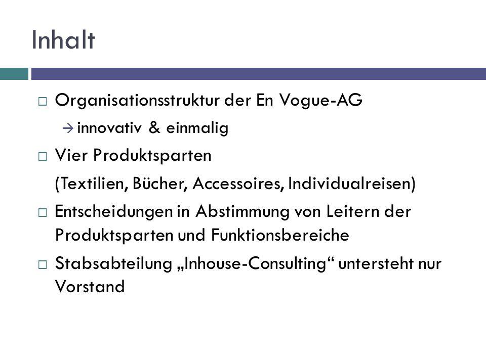 Inhalt Organisationsstruktur der En Vogue-AG Vier Produktsparten