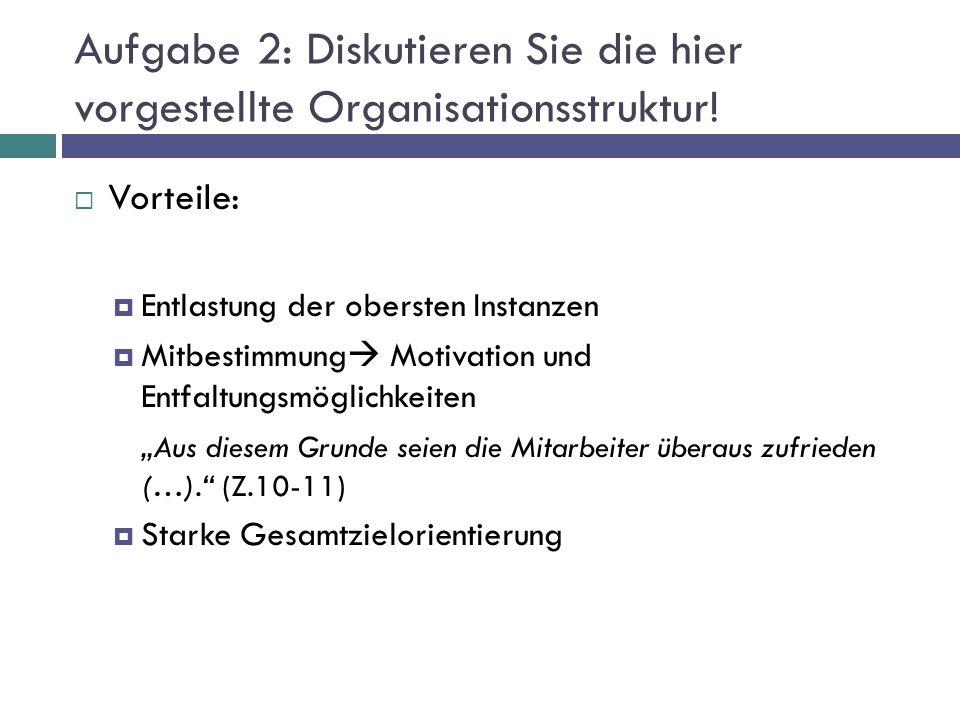 Aufgabe 2: Diskutieren Sie die hier vorgestellte Organisationsstruktur!