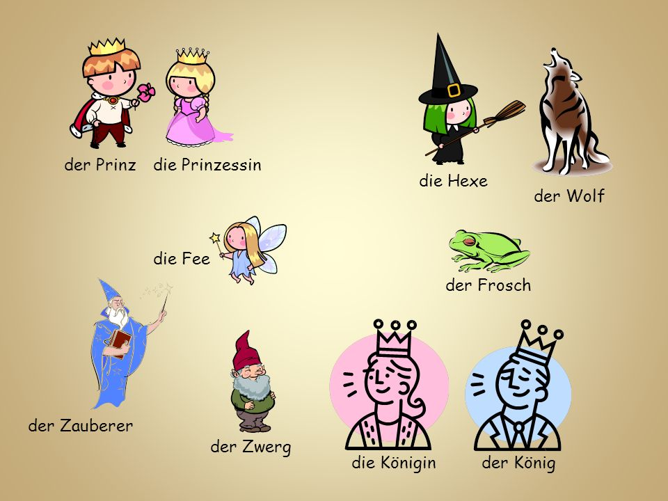 der Prinz die Prinzessin. die Hexe. der Wolf. die Fee. der Frosch. der Zauberer. der Zwerg. die Königin.