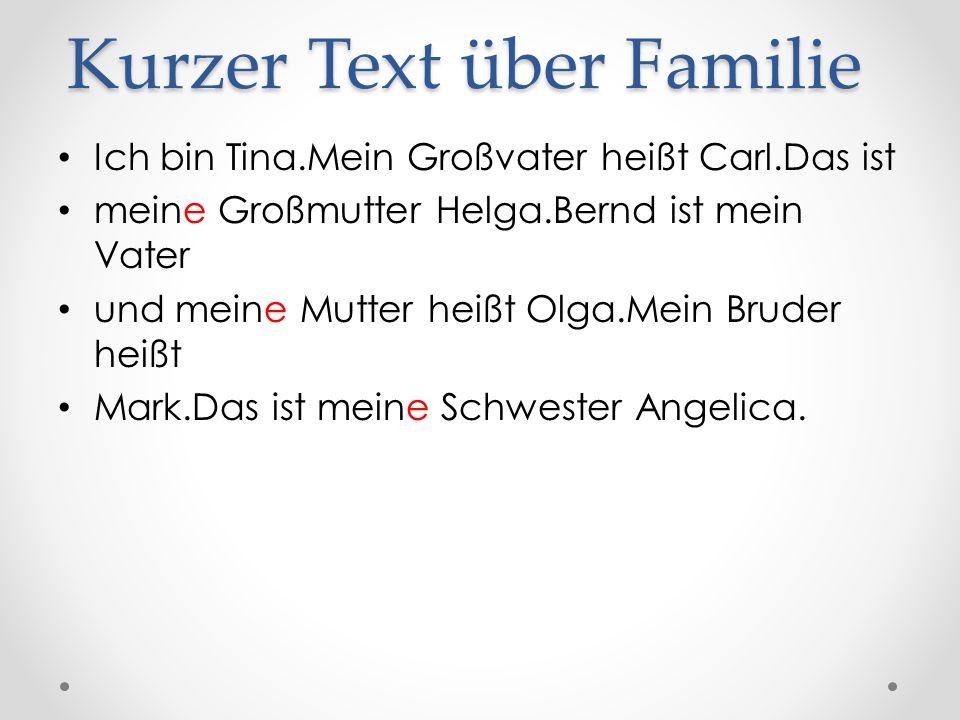 Kurzer Text über Familie