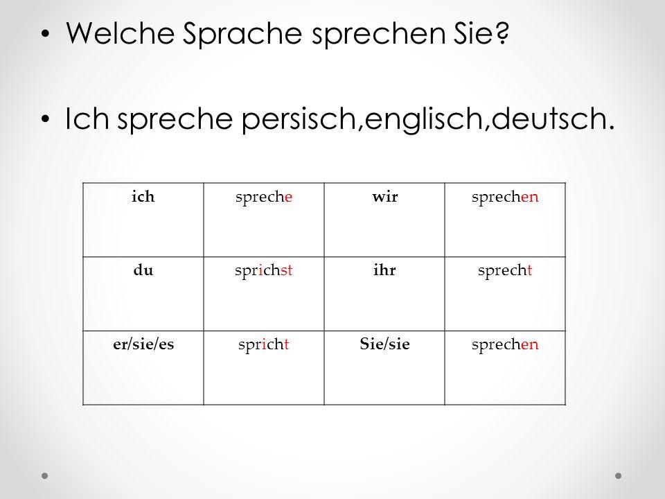 Welche Sprache sprechen Sie Ich spreche persisch,englisch,deutsch.