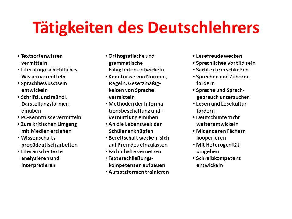 Tätigkeiten des Deutschlehrers