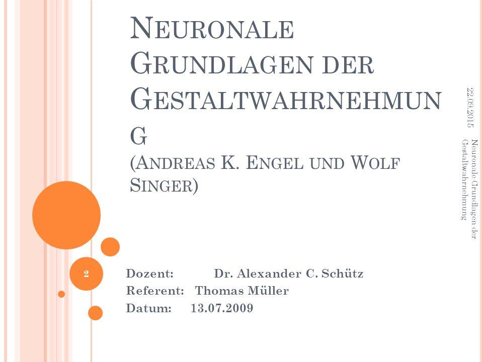 22.04.2017 Neuronale Grundlagen der Gestaltwahrnehmung (Andreas K. Engel und Wolf Singer) Neuronale Grundlagen der Gestaltwahrnehmung.