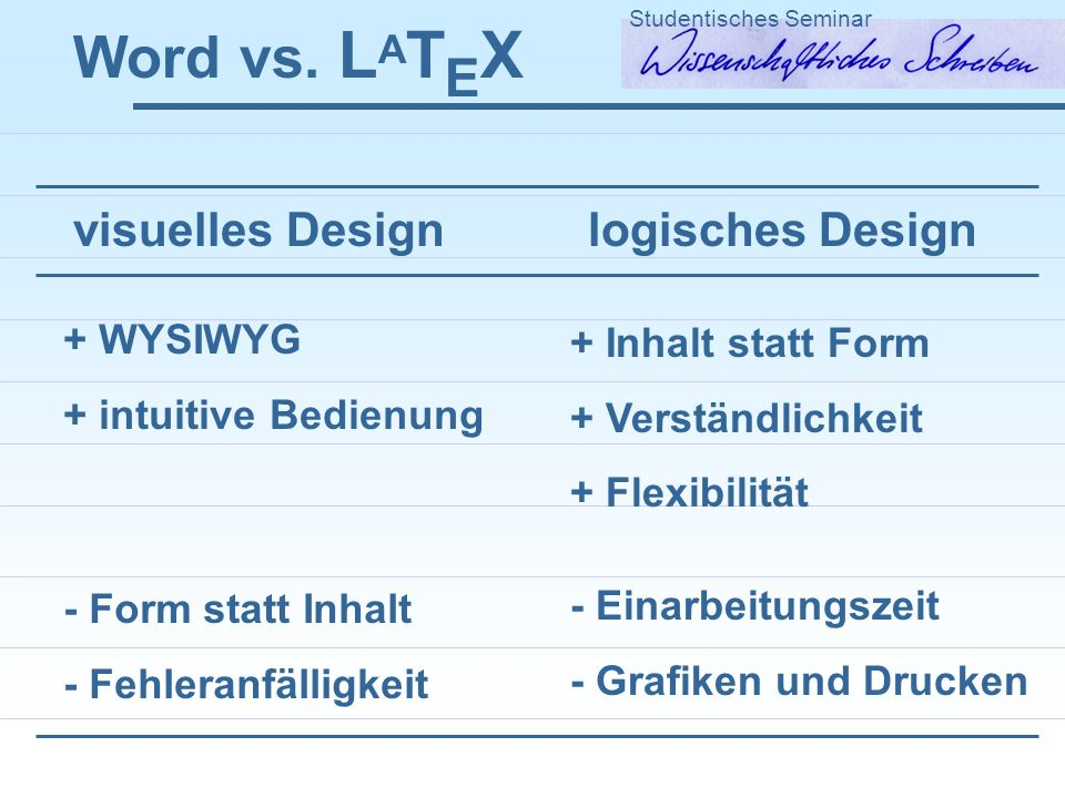 Word vs. LATEX visuelles Design logisches Design + WYSIWYG