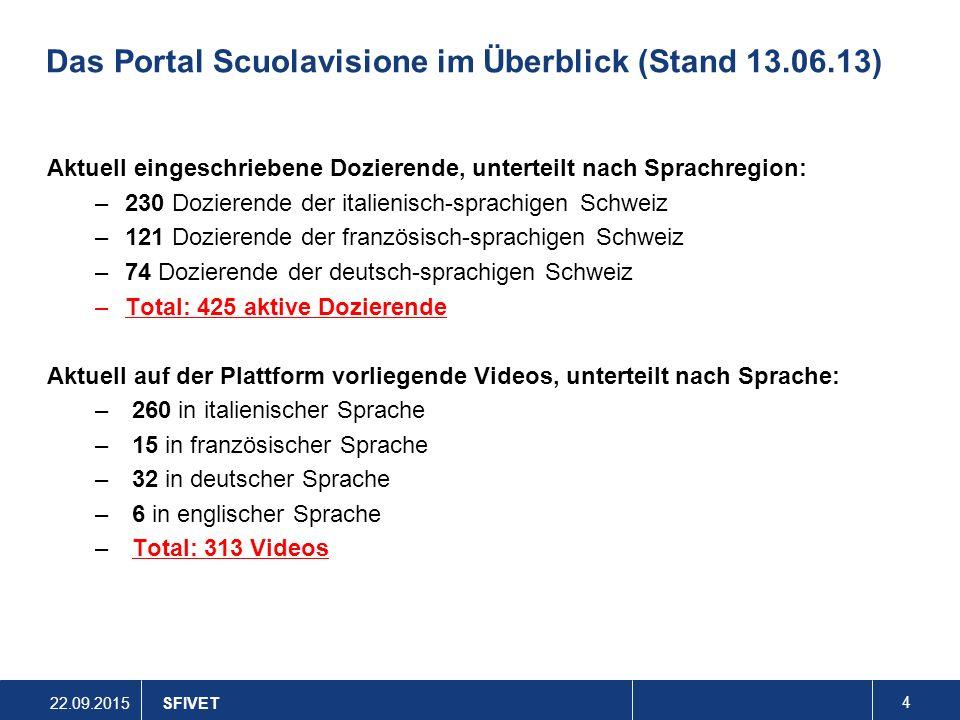 Das Portal Scuolavisione im Überblick (Stand 13.06.13)