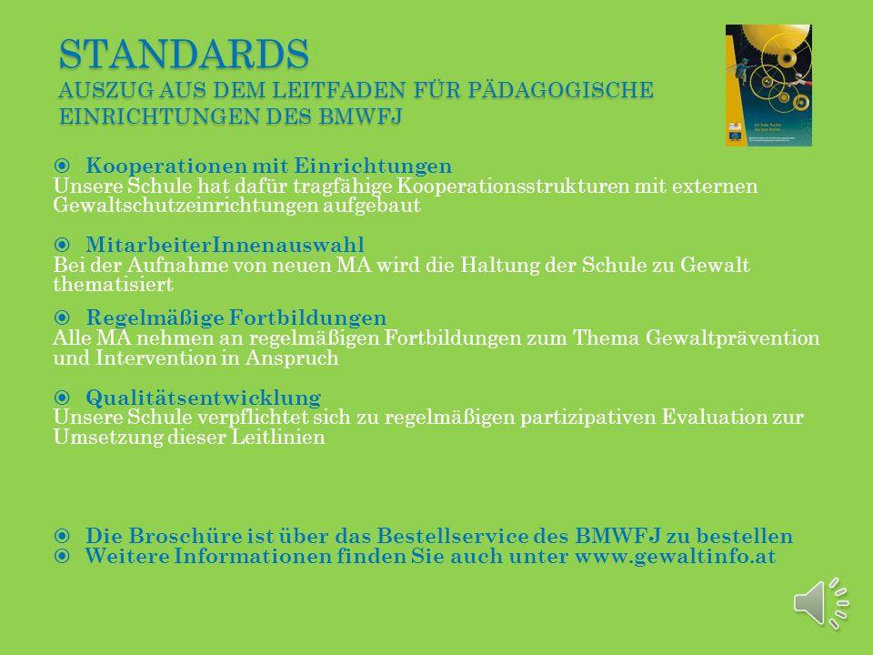 Standards Auszug aus dem Leitfaden für pädagogische Einrichtungen des BMWFJ