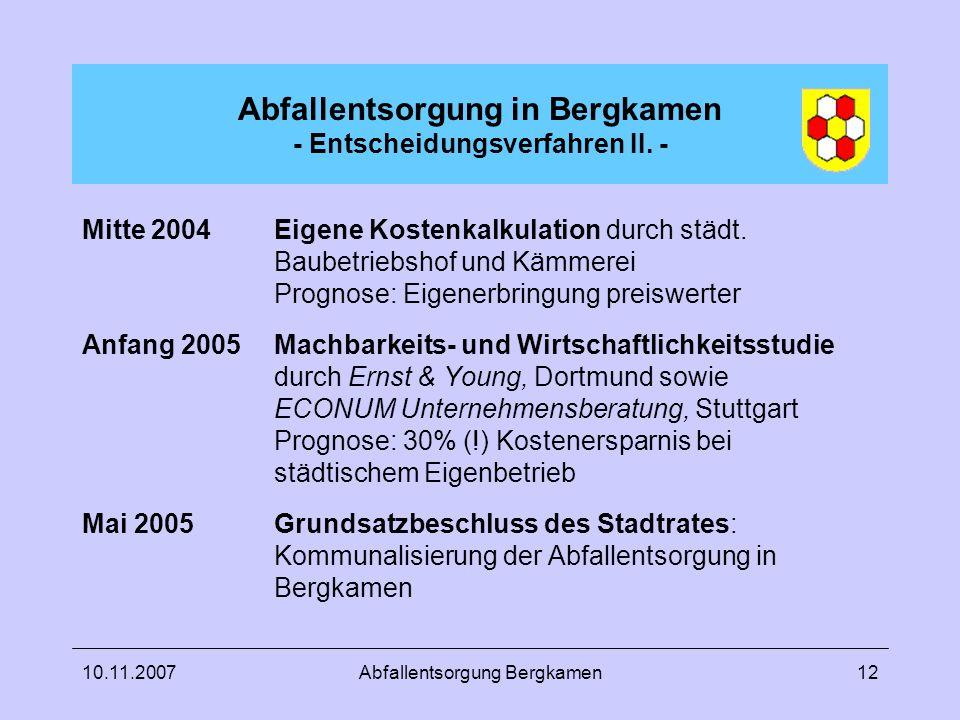 Abfallentsorgung in Bergkamen - Entscheidungsverfahren II. -