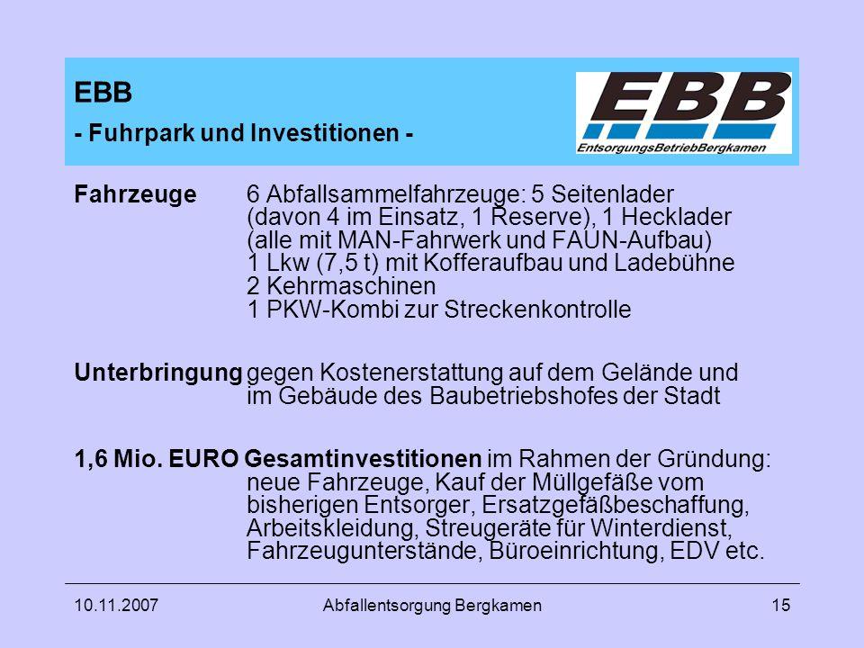 EBB - Fuhrpark und Investitionen -
