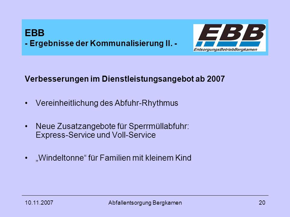 EBB - Ergebnisse der Kommunalisierung II. -