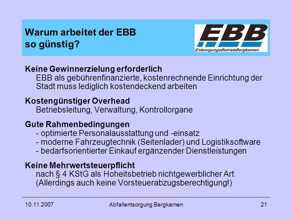 Warum arbeitet der EBB so günstig