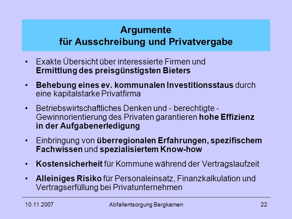Argumente für Ausschreibung und Privatvergabe