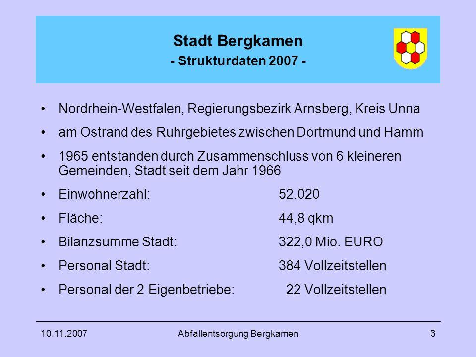 Stadt Bergkamen - Strukturdaten 2007 -