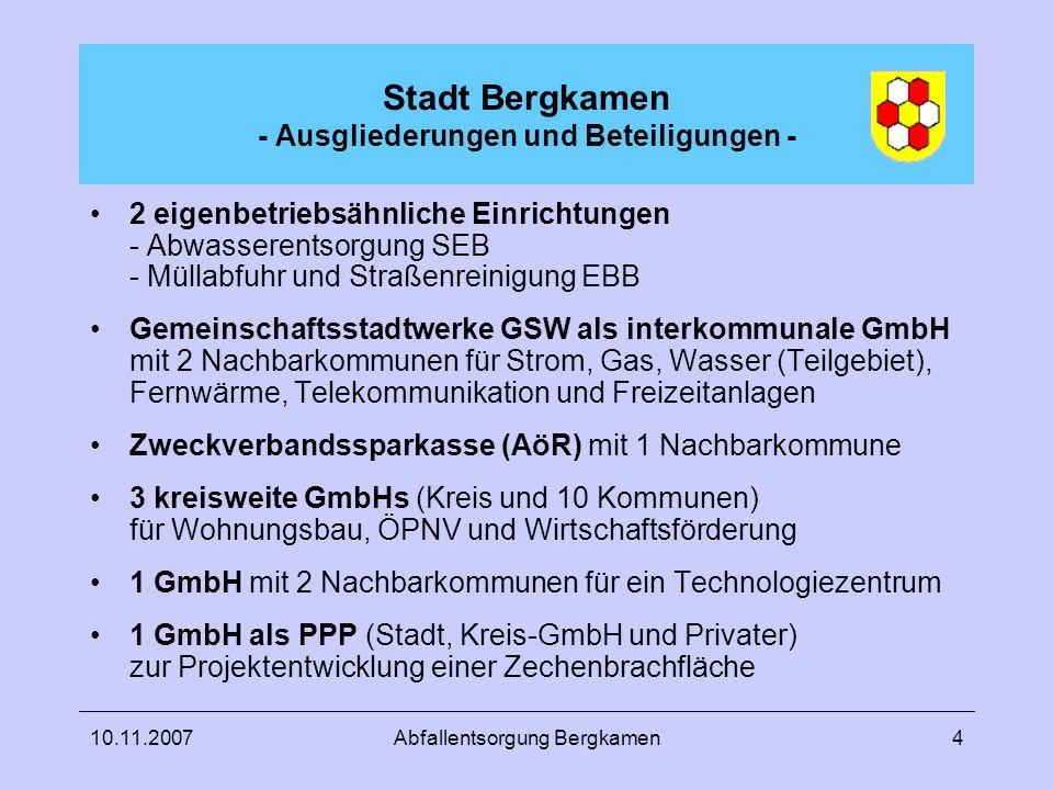 Stadt Bergkamen - Ausgliederungen und Beteiligungen -