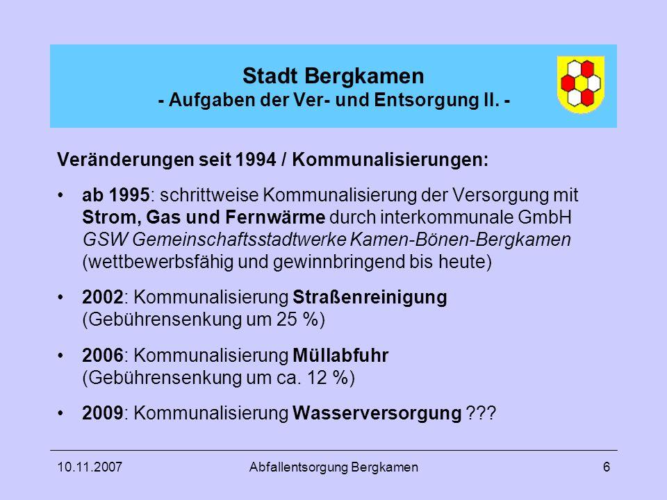 Stadt Bergkamen - Aufgaben der Ver- und Entsorgung II. -