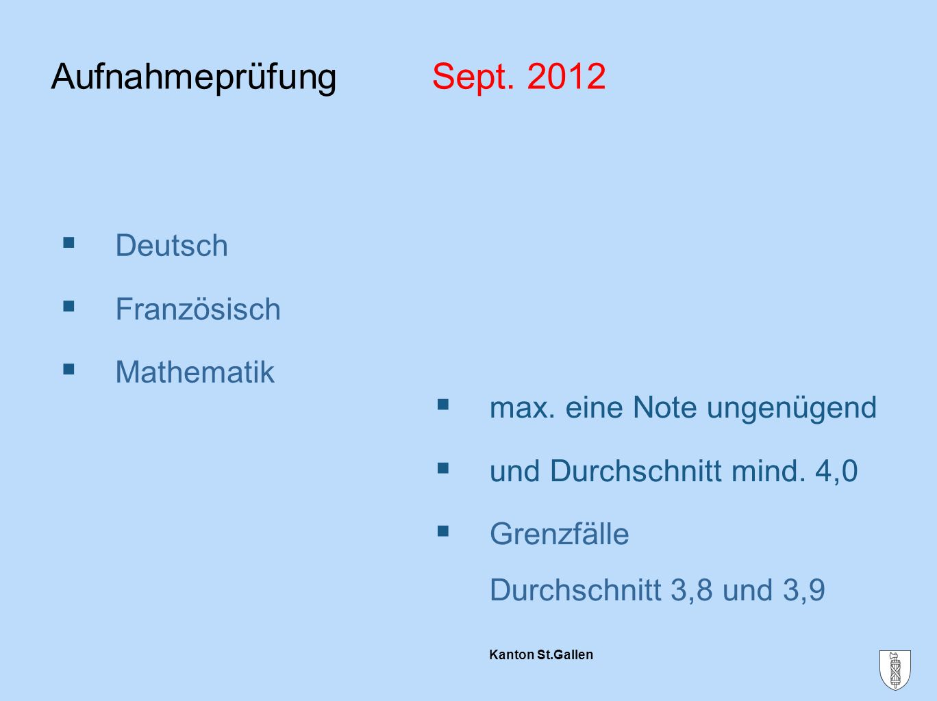 Aufnahmeprüfung Sept. 2012 Deutsch Französisch Mathematik