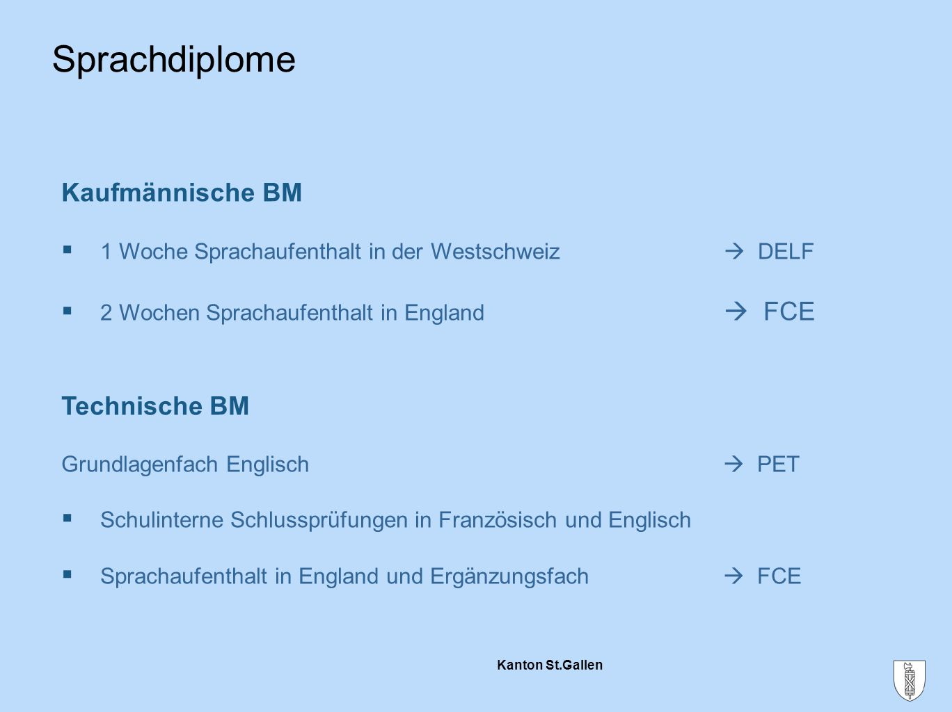 Sprachdiplome Kaufmännische BM Technische BM