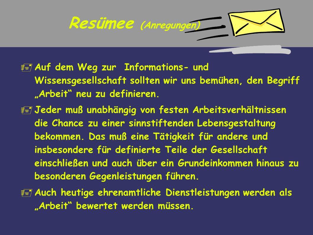 """Resümee (Anregungen)Auf dem Weg zur Informations- und Wissensgesellschaft sollten wir uns bemühen, den Begriff """"Arbeit neu zu definieren."""