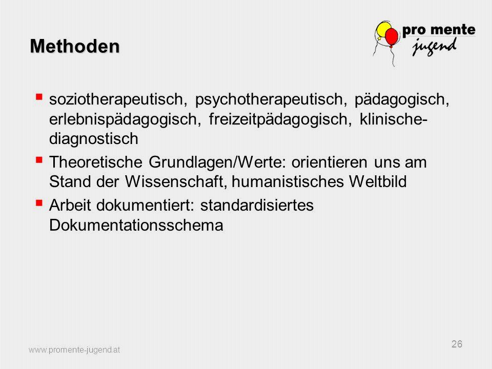 Methoden soziotherapeutisch, psychotherapeutisch, pädagogisch, erlebnispädagogisch, freizeitpädagogisch, klinische-diagnostisch.