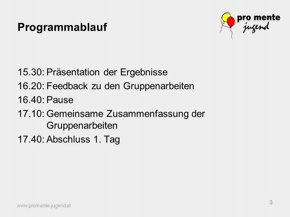 Programmablauf 15.30: Präsentation der Ergebnisse