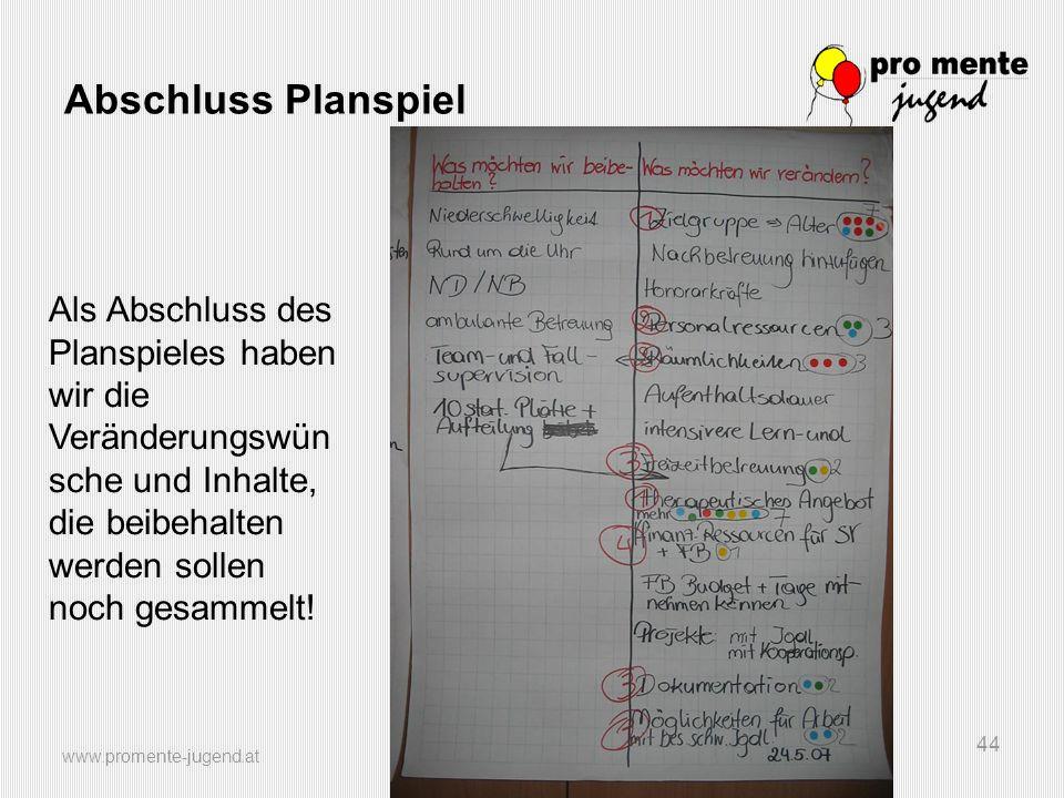 Abschluss Planspiel Als Abschluss des Planspieles haben wir die Veränderungswünsche und Inhalte, die beibehalten werden sollen noch gesammelt!