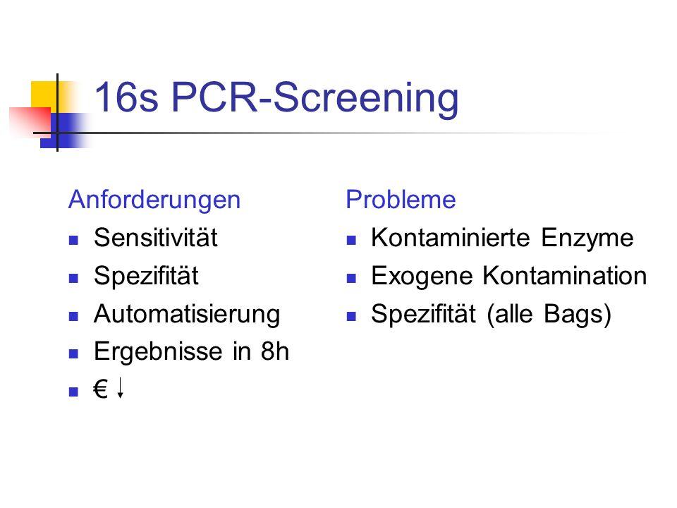 16s PCR-Screening Anforderungen Sensitivität Spezifität