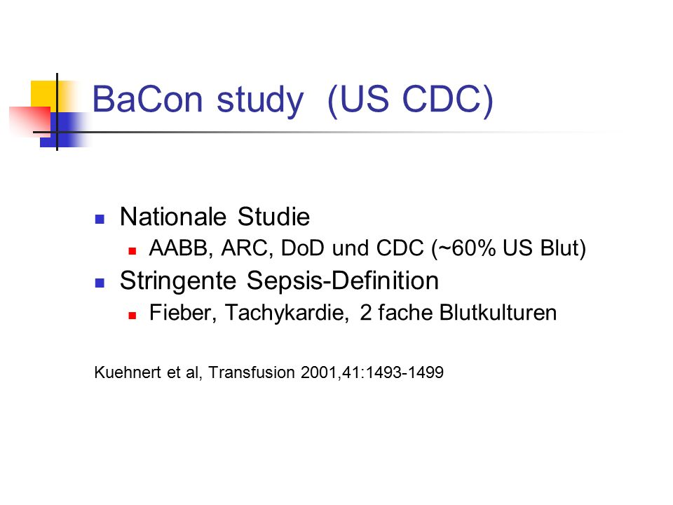 BaCon study (US CDC) Nationale Studie Stringente Sepsis-Definition
